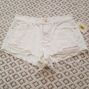 Free People white cut off shorts, size 27 NWT